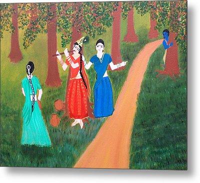 Radha Playing Krishna Metal Print by Pratyasha Nithin