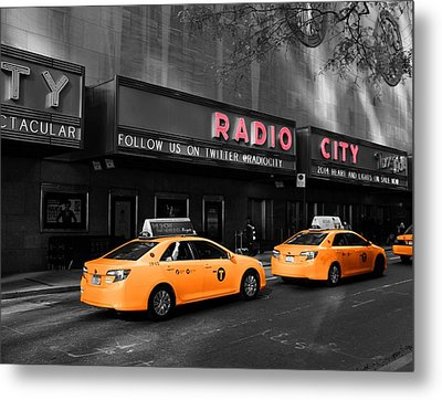 Radio City Music Hall And Taxis In New York City Metal Print by Dan Sproul