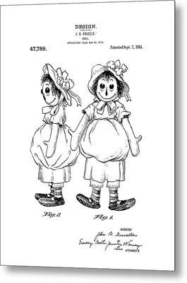 Raggedy Ann Patent Drawing Metal Print by Dan Sproul