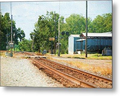 Railroad Crossing Brenham Texas Metal Print by Linda Phelps