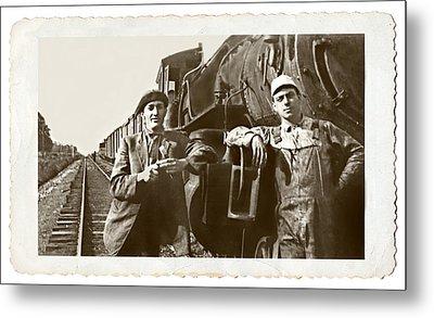 Railroad Men Metal Print by Susan Leggett