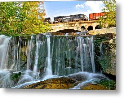 Railroad Waterfall Metal Print by Frozen in Time Fine Art Photography