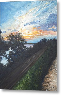 Rails Along The River Metal Print by Monica Veraguth