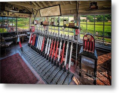 Railway Signal Box Metal Print by Adrian Evans
