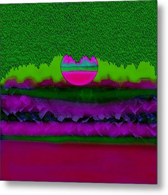Rainbow And Fantasy Moon Landscape Metal Print by Pepita Selles