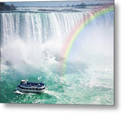 Rainbow And Tourist Boat At Niagara Falls Metal Print by Elena Elisseeva