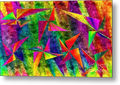Rainbow Bliss - Pin Wheels - Painterly - Abstract - H Metal Print by Andee Design