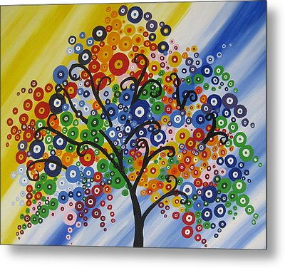 Rainbow Bubble Tree Metal Print by Cathy Jacobs