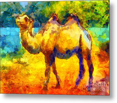 Rainbow Camel Metal Print by Pixel Chimp