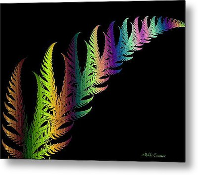 Rainbow Leaves Fractals Metal Print by Mikki Cucuzzo