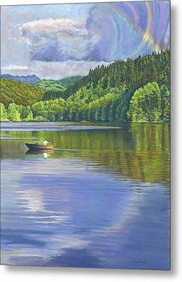 Lake Padden - View From The Alex Johnston Memorial Bench Metal Print by Nick Payne