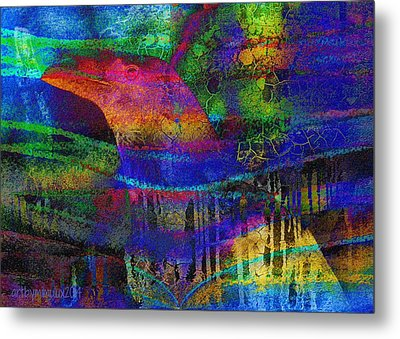Rainbow Raven Metal Print by Mimulux patricia no