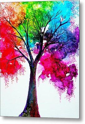 Rainbow Tree Metal Print by Ann Marie Bone