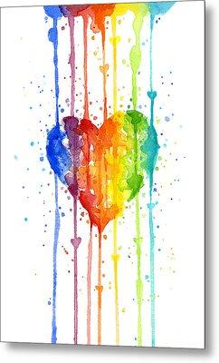 Rainbow Watercolor Heart Metal Print by Olga Shvartsur