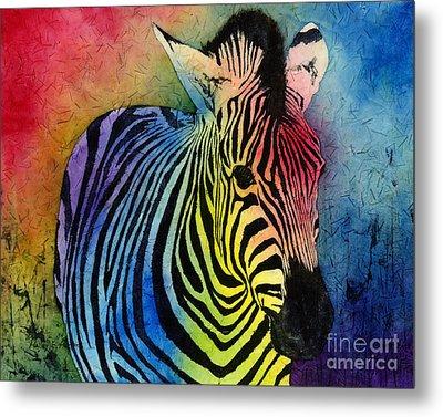 Rainbow Zebra Metal Print by Hailey E Herrera