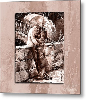 Rainy Day - Love In The Rain Style Mistyrose Metal Print by Emerico Imre Toth