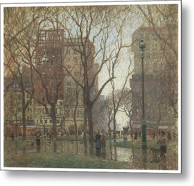 Rainy Day Madison Square New York Metal Print by Paul Cornoyer