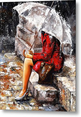 Rainy Day - Woman Of New York Metal Print by Emerico Imre Toth