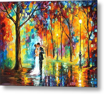 Rainy Wedding - Palette Knife Oil Painting On Canvas By Leonid Afremov Metal Print by Leonid Afremov