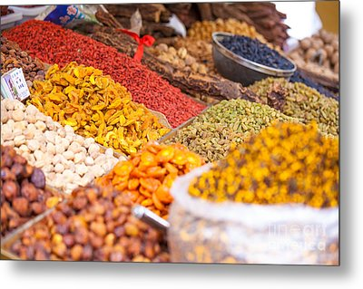 Raisins And Dried Fruit At Local Market Metal Print by Matteo Colombo