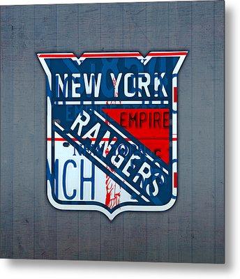 Rangers Original Six Hockey Team Retro Logo Vintage Recycled New York License Plate Art Metal Print by Design Turnpike