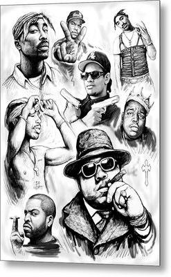 Rap Group Drawing Art Sketch Poster Metal Print by Kim Wang