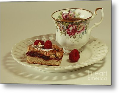 Raspberry Almond Square And Herbal Tea  Metal Print by Inspired Nature Photography Fine Art Photography