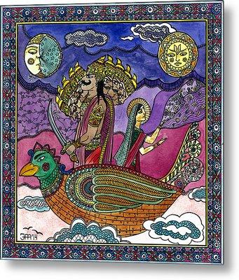Ravana Stealing Sita Metal Print by Jekaterina Mudivarthi