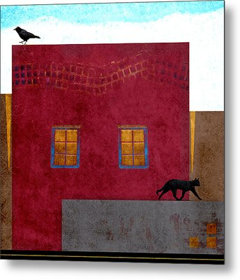 Raven And Cat Metal Print by Carol Leigh