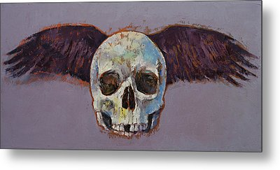 Raven Skull Metal Print by Michael Creese