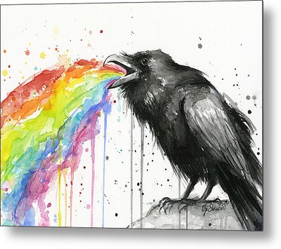 Raven Tastes The Rainbow Metal Print by Olga Shvartsur