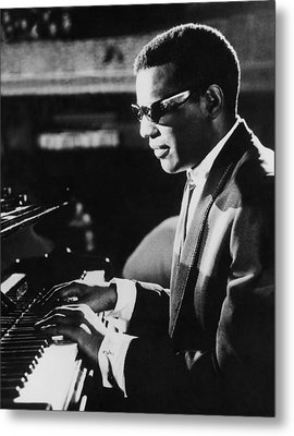Ray Charles At The Piano Metal Print by Underwood Archives