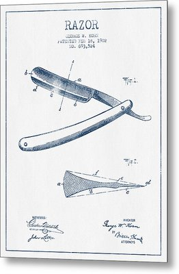 Razor Patent From 1902 - Blue Ink Metal Print by Aged Pixel