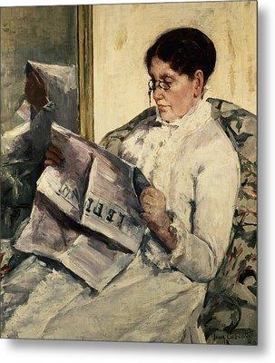 Reading Le Figaro Metal Print by Mary Stevenson Cassatt