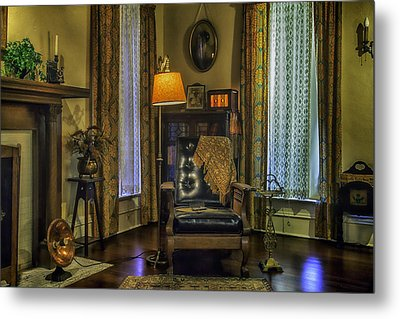 Reading Nook With Leather Chair Metal Print by Lynn Palmer