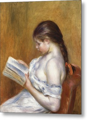 Reading Metal Print by Pierre Auguste Renoir