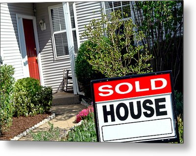 Real Estate Sold House Sign And Home For Sale Metal Print by Olivier Le Queinec
