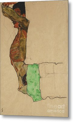 Reclining Male Nude With Green Cloth Metal Print by Egon Schiele