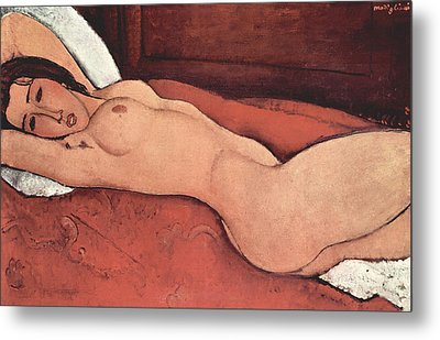Reclining Nude With Arms Behind Her Head Metal Print by Amedeo Modigliani