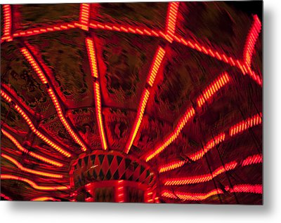 Red Abstract Carnival Lights Metal Print by Garry Gay