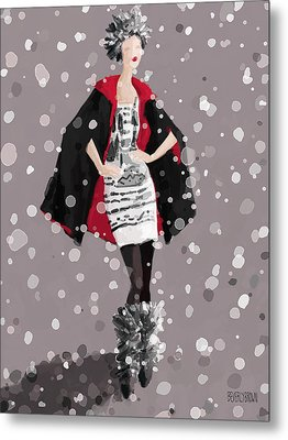 Red And Black Cape In The Snow Fashion Illustration Art Print Metal Print by Beverly Brown