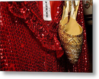 Red And Gold Holiday Metal Print by Toni Hopper
