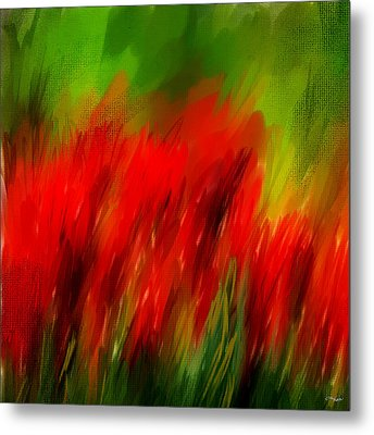 Red And Green Metal Print by Lourry Legarde