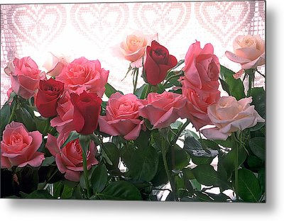 Red And Pink Roses In Window Metal Print by Garry Gay