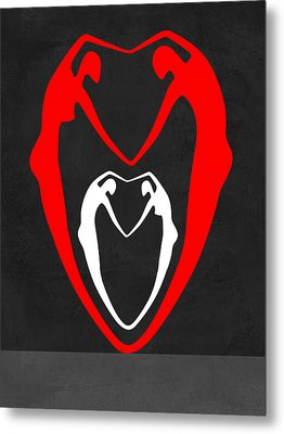 Red And White Heart Metal Print by Naxart Studio