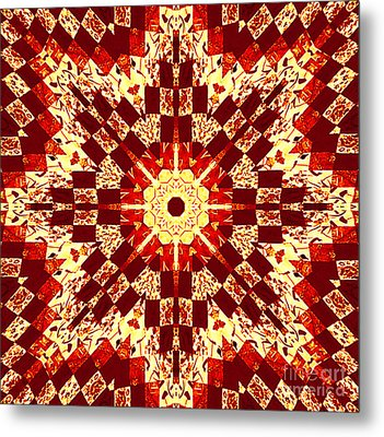 Red And White Patchwork Art Metal Print by Barbara Griffin