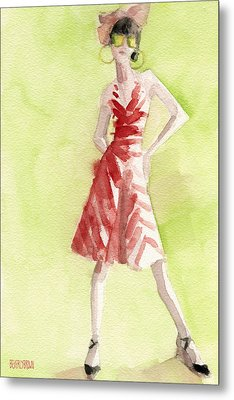 Red And White Striped Dress Fashion Illustration Art Print Metal Print by Beverly Brown Prints