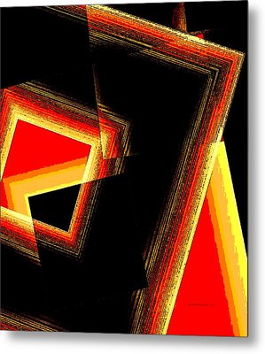 Red And Yellow Geometric Design Metal Print by Mario Perez