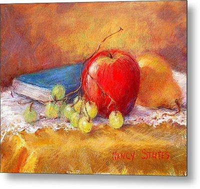 Red Apple Metal Print by Nancy Stutes