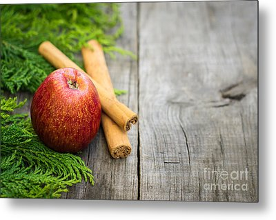Red Apple With Cinnamon Sticks Metal Print by Aged Pixel